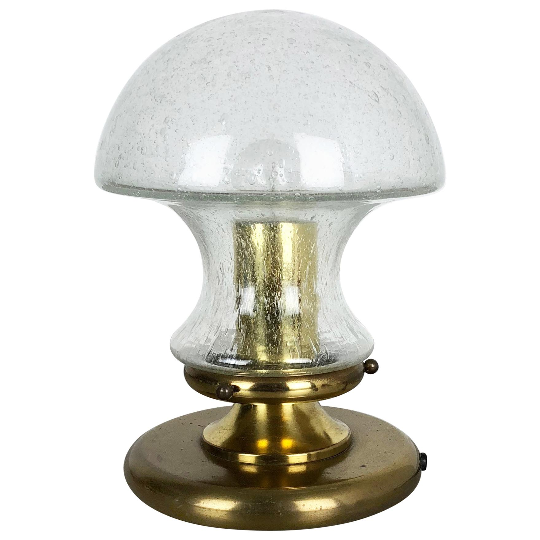 Modernist Glass and Brass Mushroom Table Light by Doria Lights, 1970s, Germany