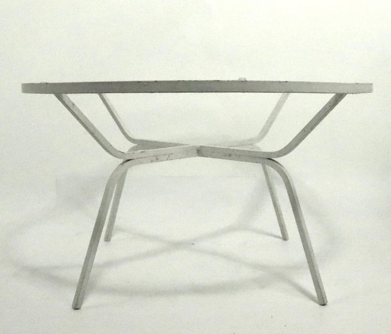 Mid-Century Modern Modernist Glass Top Wrought Iron Patio Garden Table Attributed to Salterini For Sale