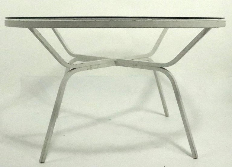 20th Century Modernist Glass Top Wrought Iron Patio Garden Table Attributed to Salterini For Sale