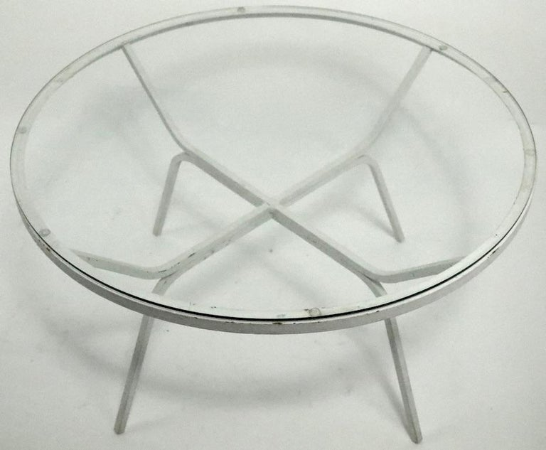 Modernist Glass Top Wrought Iron Patio Garden Table Attributed to Salterini For Sale 1
