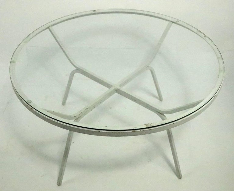 Modernist Glass Top Wrought Iron Patio Garden Table Attributed to Salterini For Sale 2
