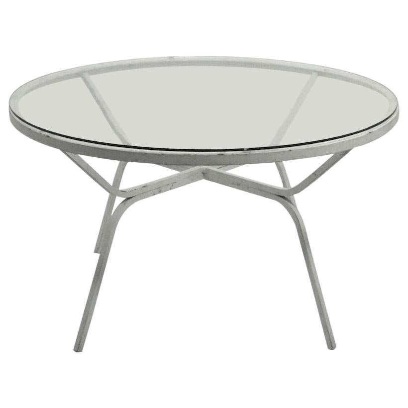 Modernist Glass Top Wrought Iron Patio Garden Table Attributed to Salterini