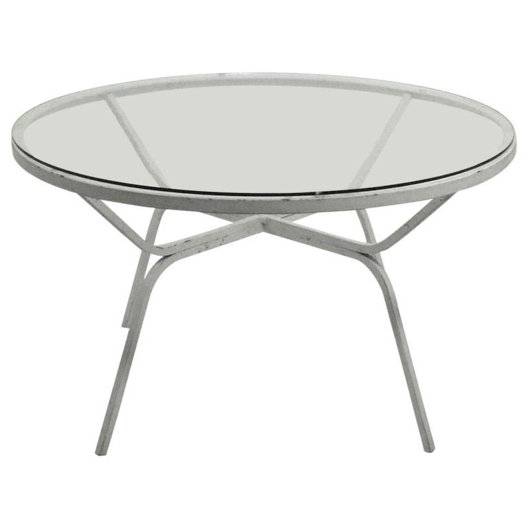 Modernist Glass Top Wrought Iron Patio Garden Table Attributed to Salterini For Sale