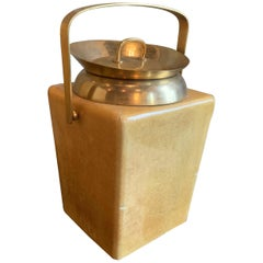 Modernist Goatskin and Brass Ice Bucket by Aldo Tura