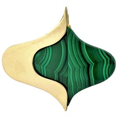 Modernist Gold and Malachite Large Scale Brooch Across
