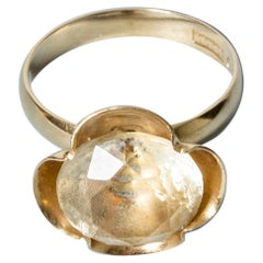 Modernist Gold and Rock Crystal Ring from Alton, Sweden, 1976