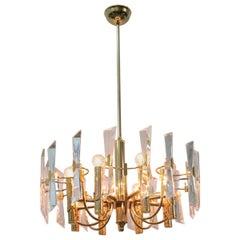 Modernist Gold Ceiling Lamp Sciolari 1970s Stilkronen Art Glass