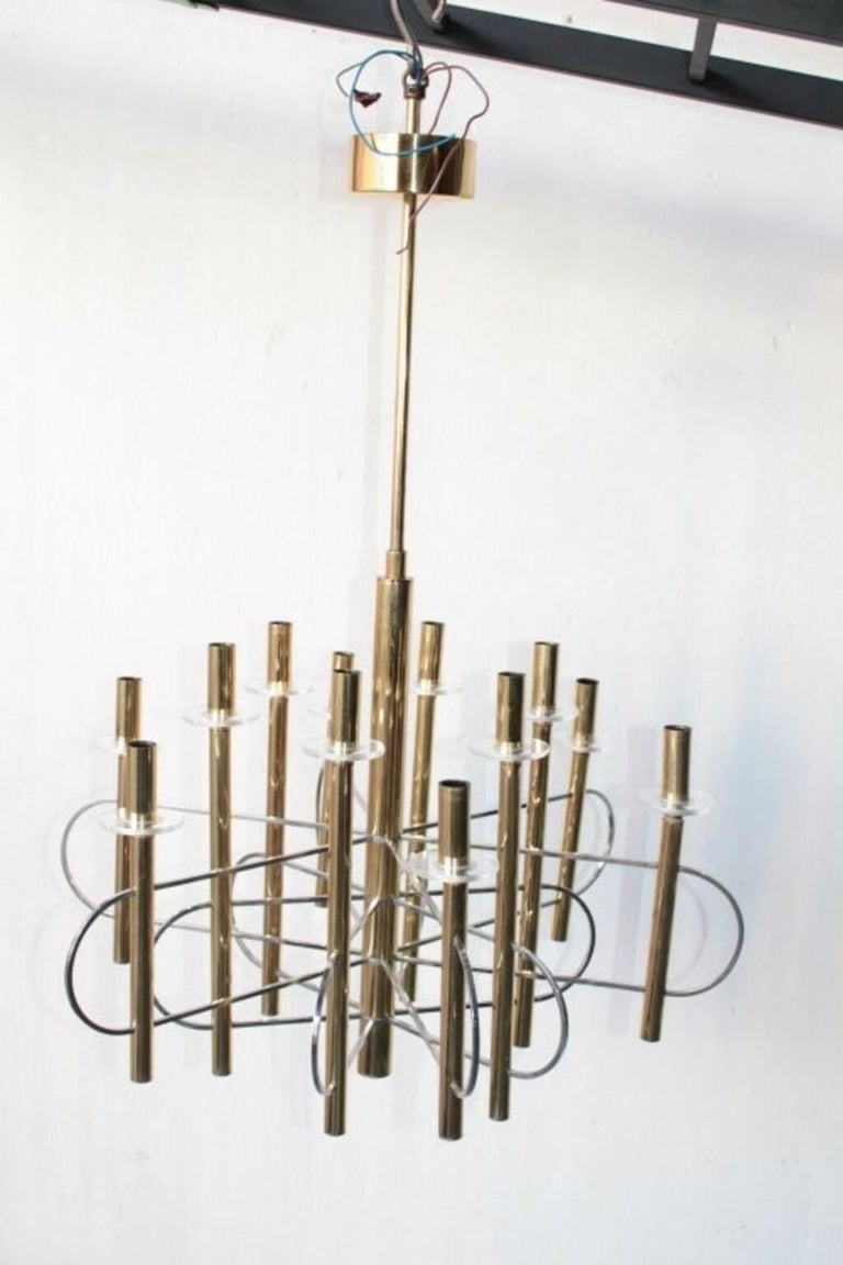 Mid-Century Modern Modernist Gold Chandelier 1960s by Gaetano Sciolari For Sale