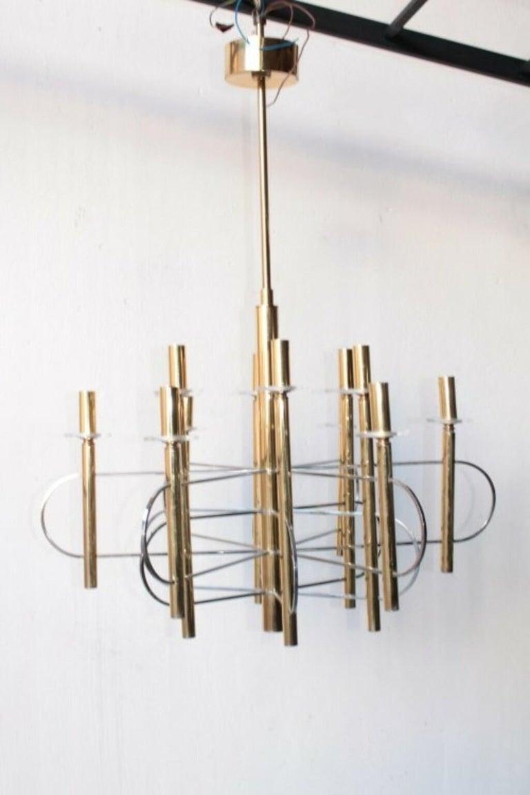 Italian Modernist Gold Chandelier 1960s by Gaetano Sciolari For Sale