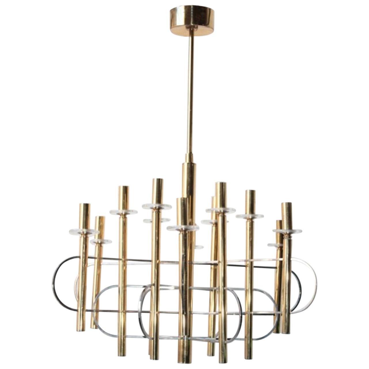 Modernist Gold Chandelier 1960s by Gaetano Sciolari