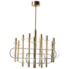Modernist Gold Chandelier 1960s by Gaetano Sciolari