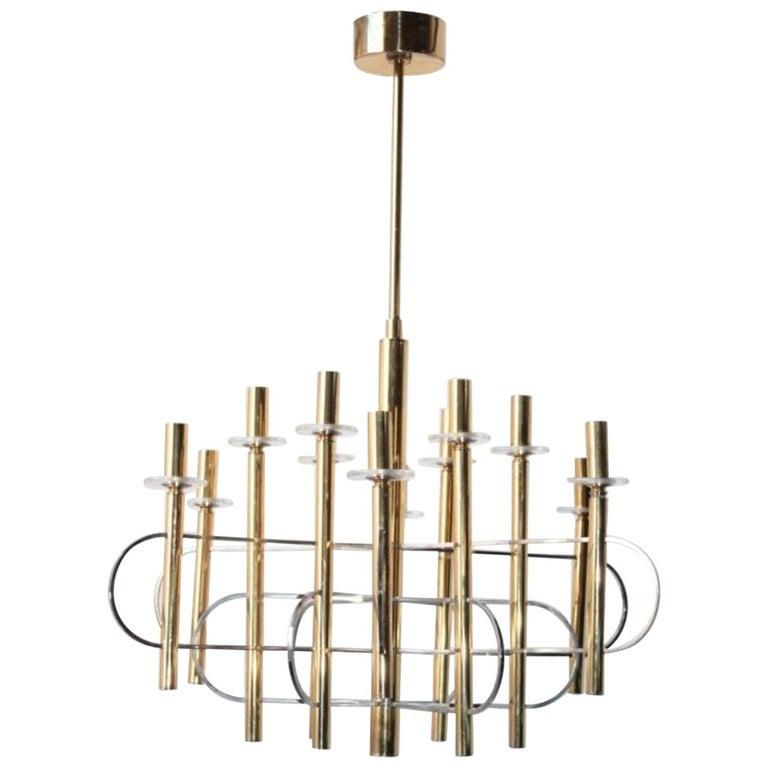 Modernist Gold Chandelier 1960s by Gaetano Sciolari For Sale