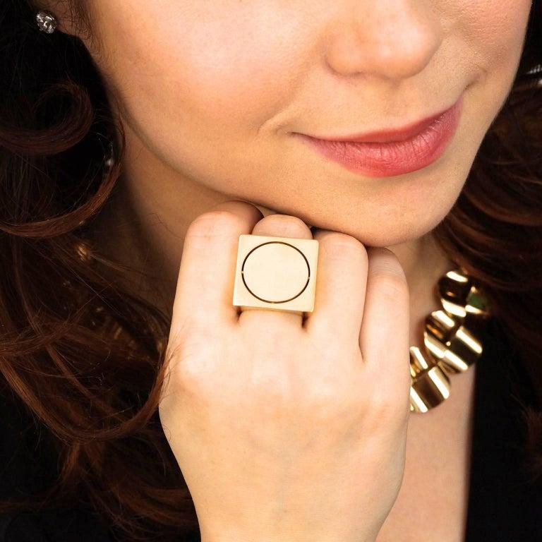 Women's or Men's Modernist Gold Ring by Kurt Aepli for Burch For Sale