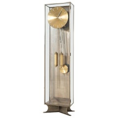 Modernist Grandfather Clock in Steel and Glass