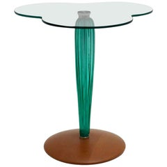 Modernist Green Glass Cloverleaf Vintage Side Table Seguso attr. Italy, c 1980