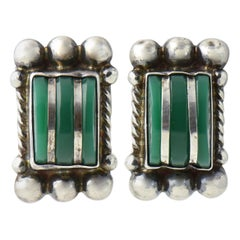 Modernist Green Onyx Sterling Silver Earrings