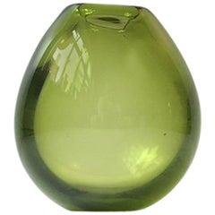 Modernist Green Teardrop Vase by Per Lütken for Holmegaard, 1960s