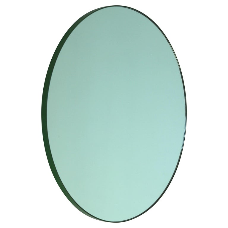 Modernist Green Tinted Orbis Round Mirror Green Frame, Medium, Customizable For Sale