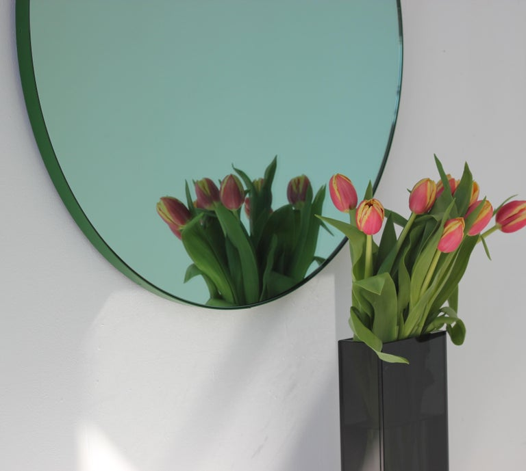 Modernist Green Tinted Orbis Round Mirror Green Frame, Medium, Customizable In New Condition For Sale In London, GB