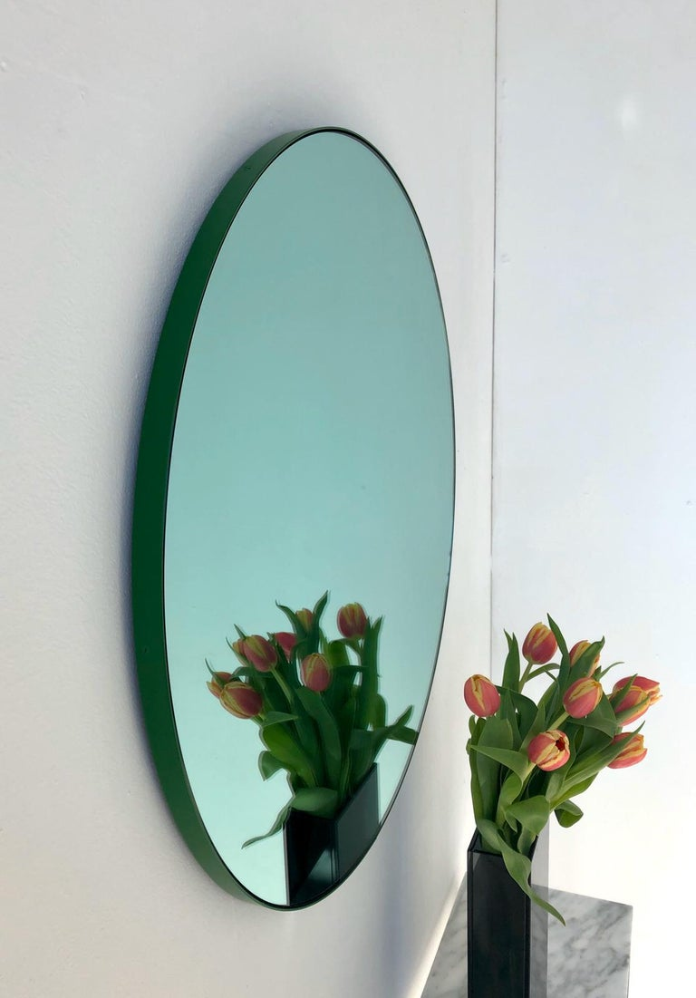 Contemporary Modernist Green Tinted Orbis Round Mirror Green Frame, Medium, Customizable For Sale