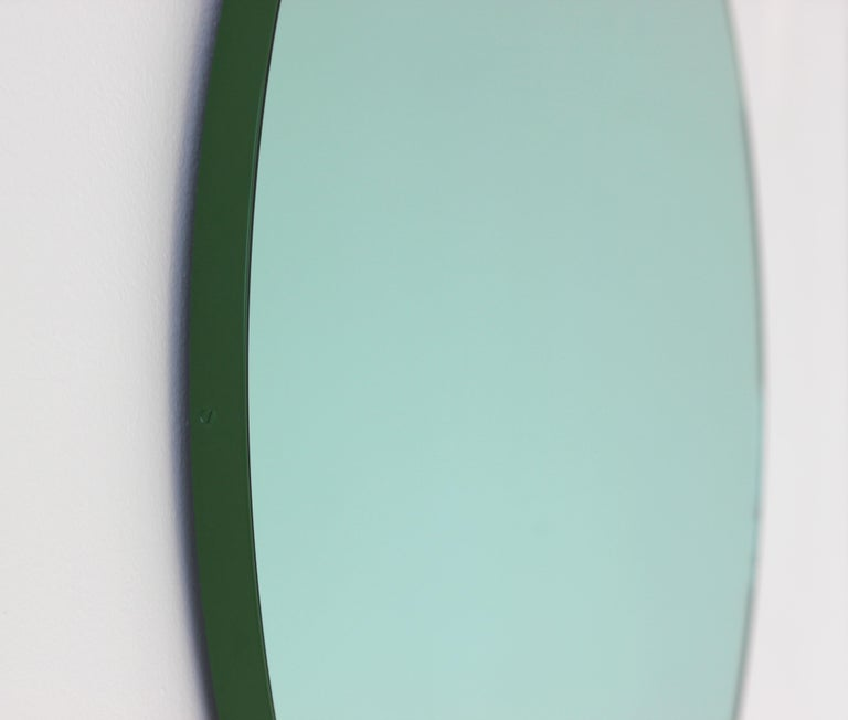 Aluminum Modernist Green Tinted Orbis Round Mirror Green Frame, Medium, Customizable For Sale