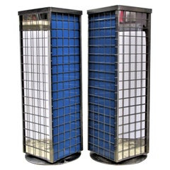 Modernist Grid Design Chromed Steel Revolving Pedestals