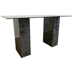 Modernist Grigo Carnico Marble Pedestal Desk