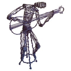 Modernist Guitar Musician Metal Wire Sculpture