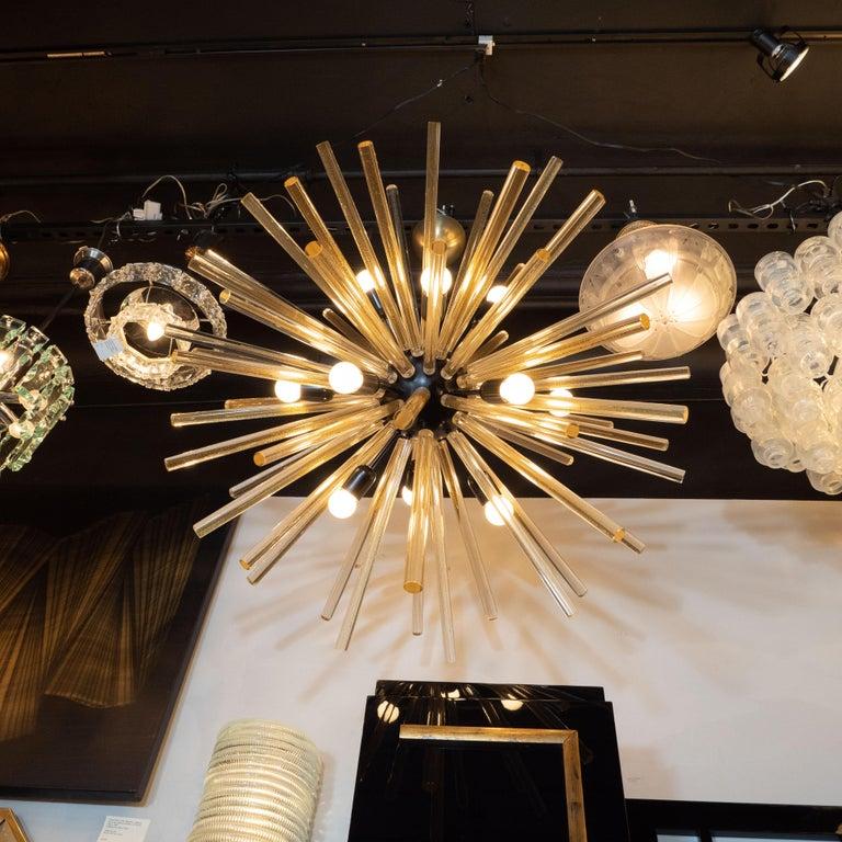 Contemporary Modernist Hand Blown Murano 24 Kt Gold Translucent Glass & Black Enamel Sputnik For Sale