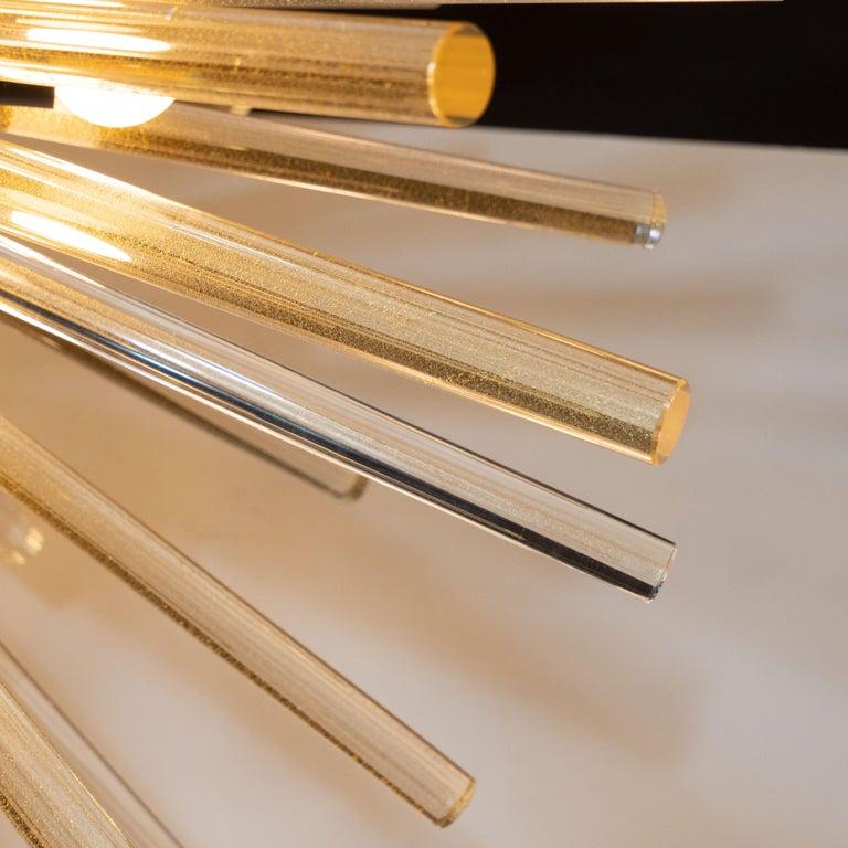 Modernist Hand Blown Murano 24 Kt Gold Translucent Glass & Black Enamel Sputnik For Sale 1
