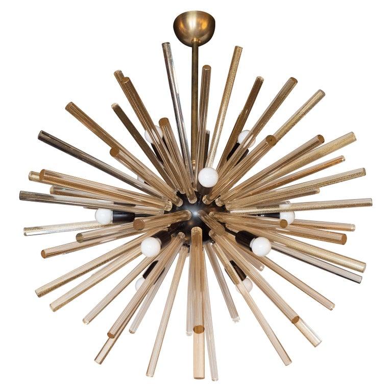 Modernist Hand Blown Murano 24 Kt Gold Translucent Glass & Black Enamel Sputnik For Sale