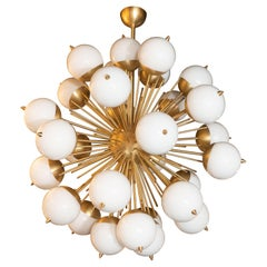 Modernist Hand Blown Murano Frosted Glass and Brushed Brass Sputnik Chandelier