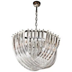 Modernist Hand Blown Murano Glass Ribbon Chandelier with Chrome Fittings