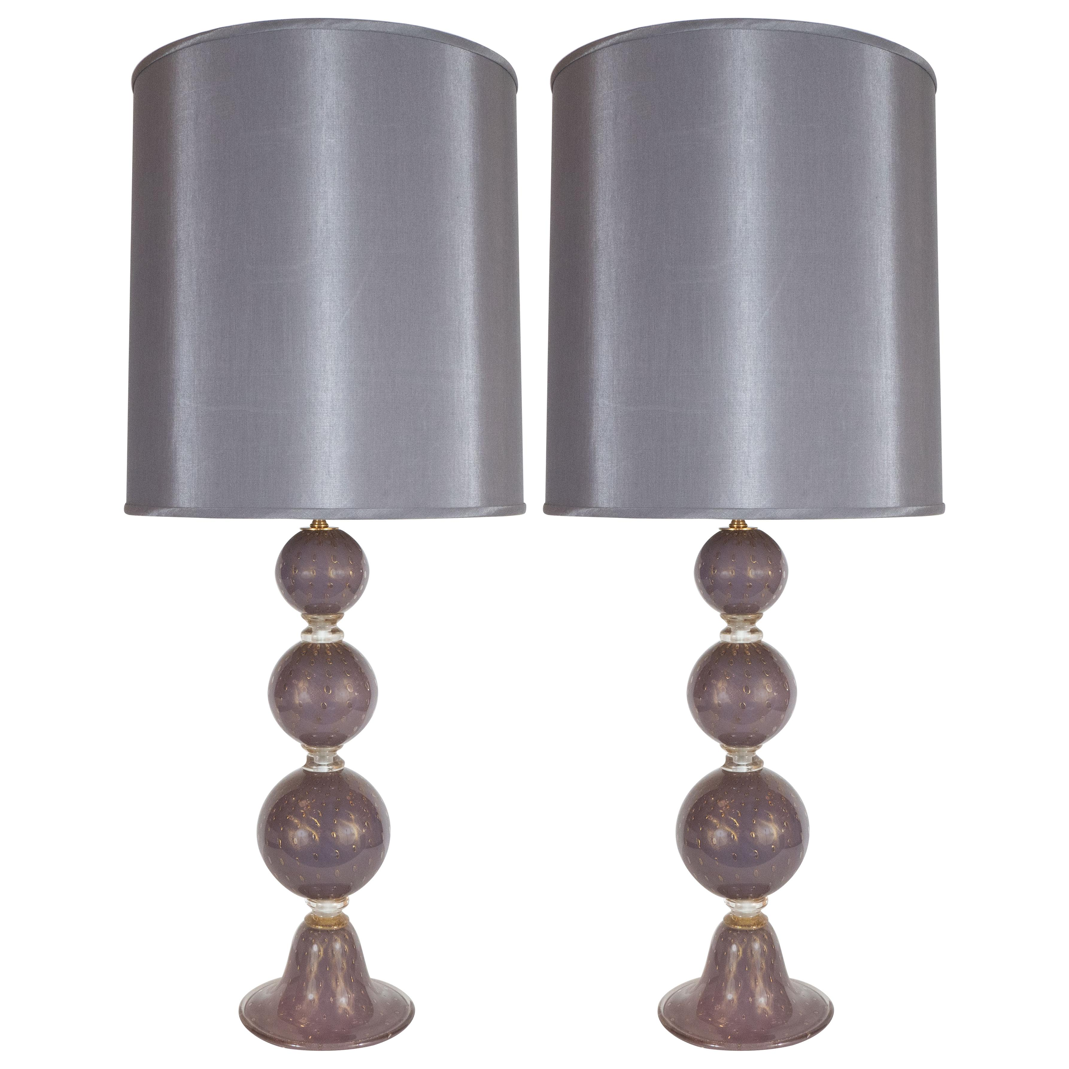 Modernist Hand Blown Murano Lavender Glass Table Lamps