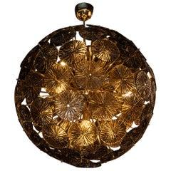 Modernist Hand Blown Murano Smoked Bronze Glass and Polished Brass Sputnik