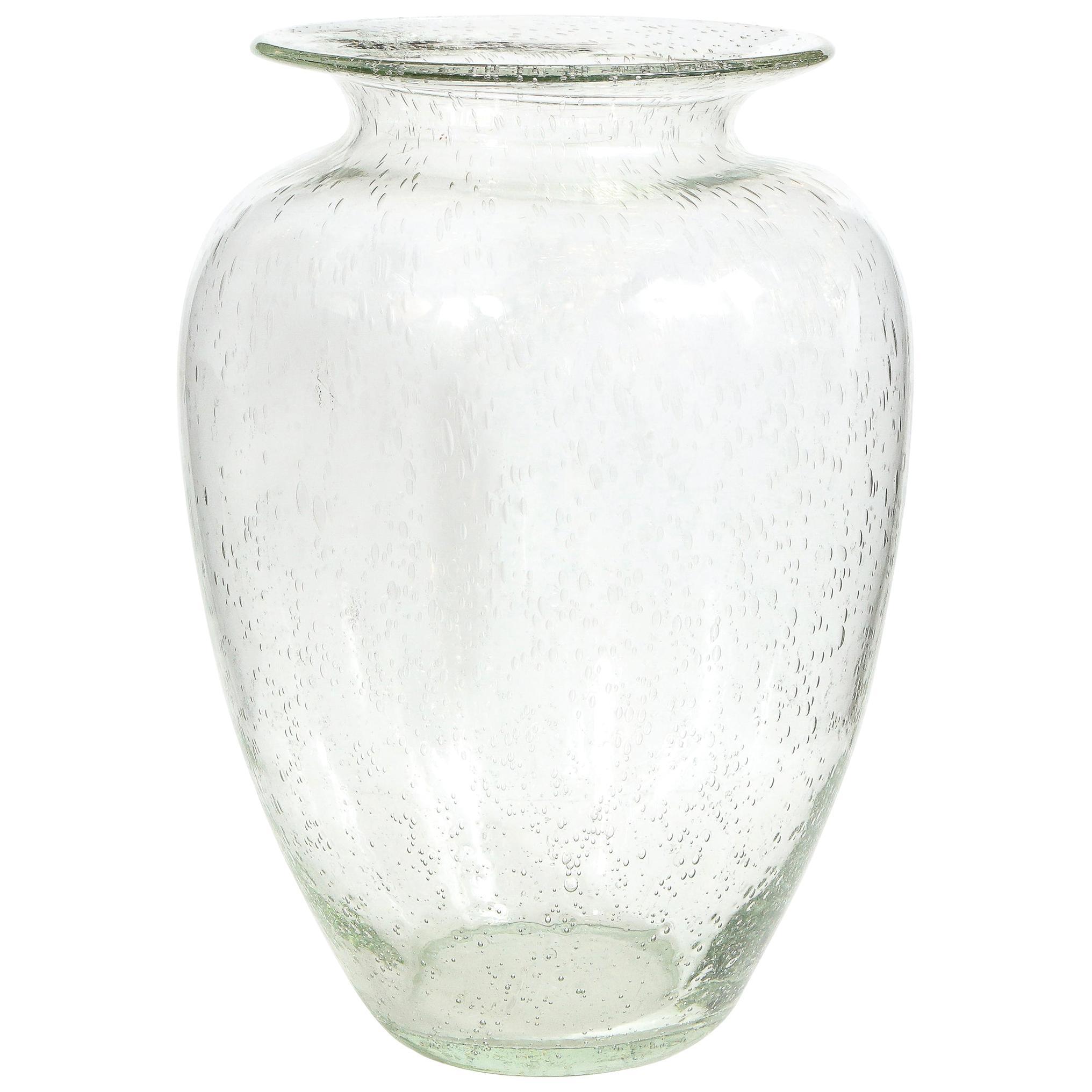 Modernist Hand Blown Murano Translucent Sea Foam Vase