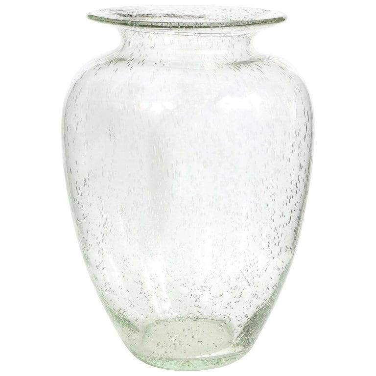 Modernist Hand Blown Murano Translucent Sea Foam Vase For Sale
