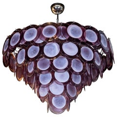Modernist Hand Blown Plum Hued Murano Glass Chandelier with Chrome