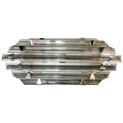 Modernist Hand Blown Skyscraper Style Chrome & Smoked Murano Glass Vanity Light