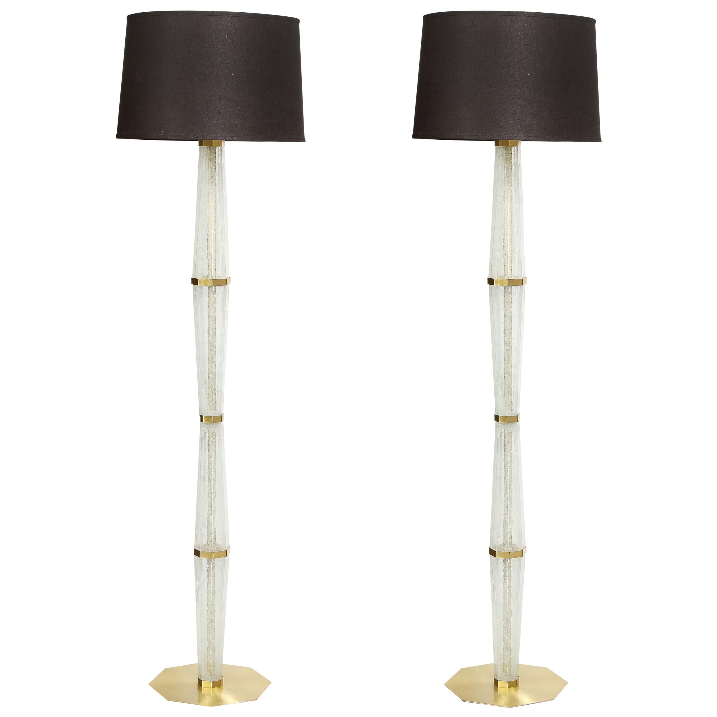 Modernist Hand Blown White Murano Glass and Polished Brass Hourglass Floor Lamps