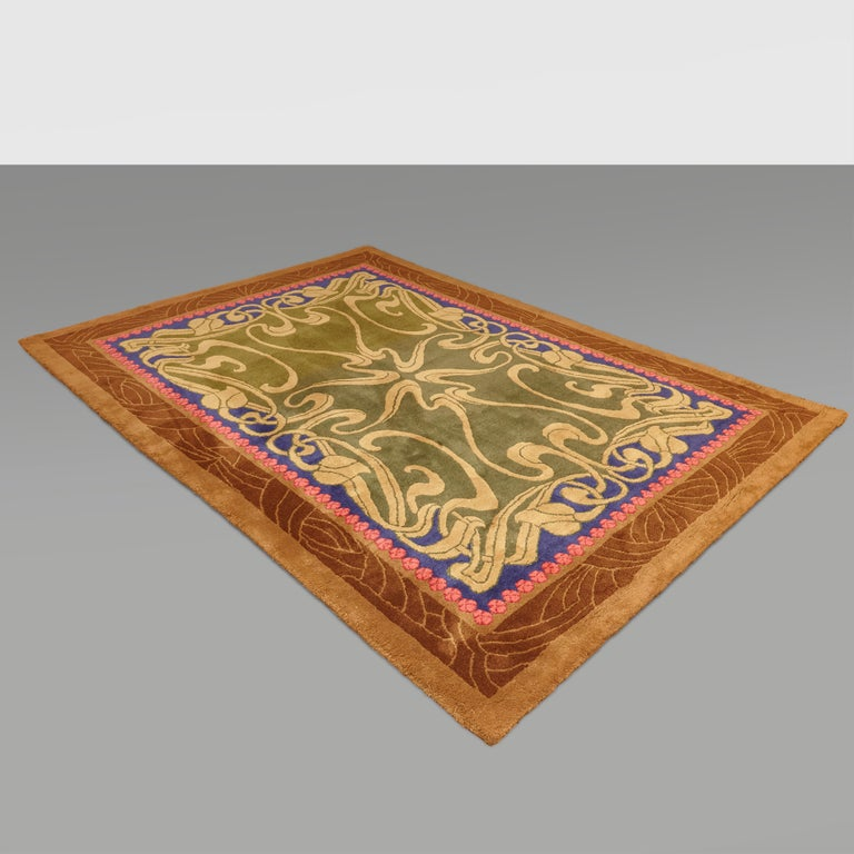 Modernist Hand Knotted Wool Large Rug, circa 1980 For Sale 11
