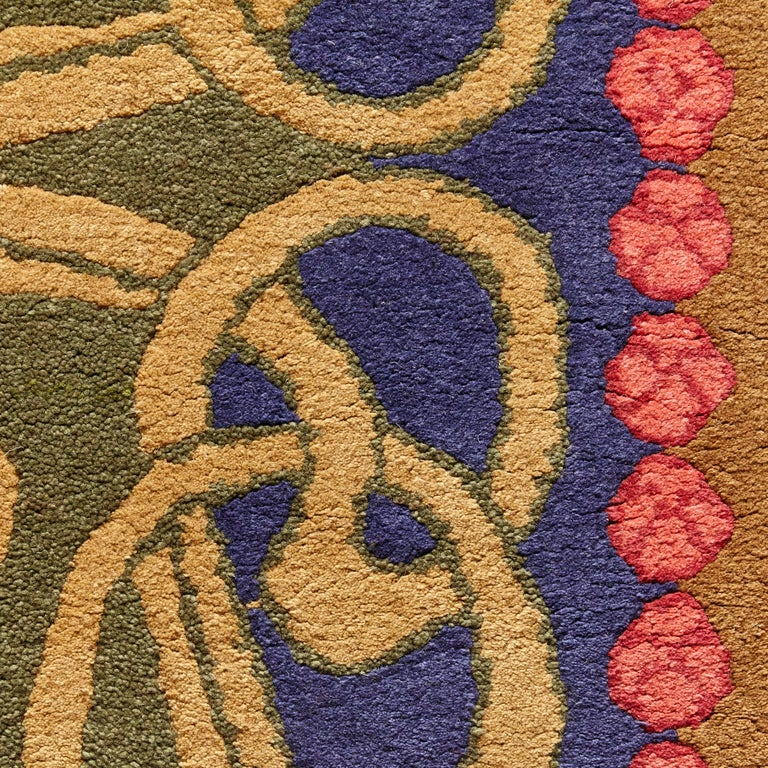 Spanish Modernist Hand Knotted Wool Large Rug, circa 1980 For Sale