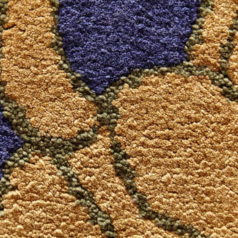 Late 20th Century Modernist Hand Knotted Wool Large Rug, circa 1980 For Sale