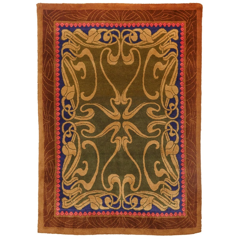 Modernist Hand Knotted Wool Large Rug, circa 1980 For Sale