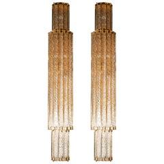Modernist Handblown Murano Braided Translucent Glass Sconces in Polished Brass