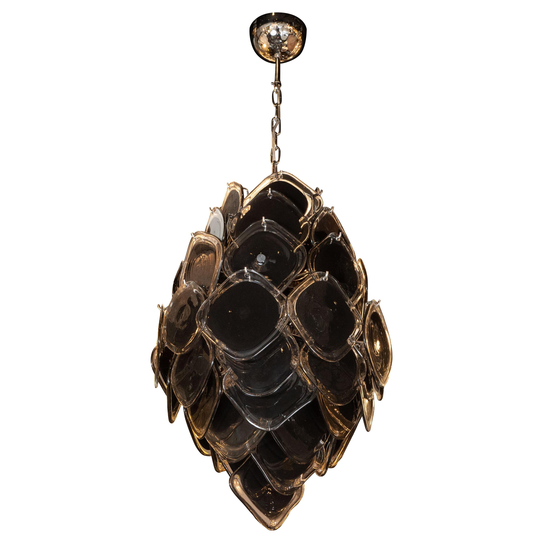 Modernist Hand Blown Murano Glass & Chrome Diamond Vistosi Disc Chandelier