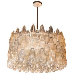 Modernist Handblown Murano Glass Polyhedral Drum Chandelier with Nickel Fittings