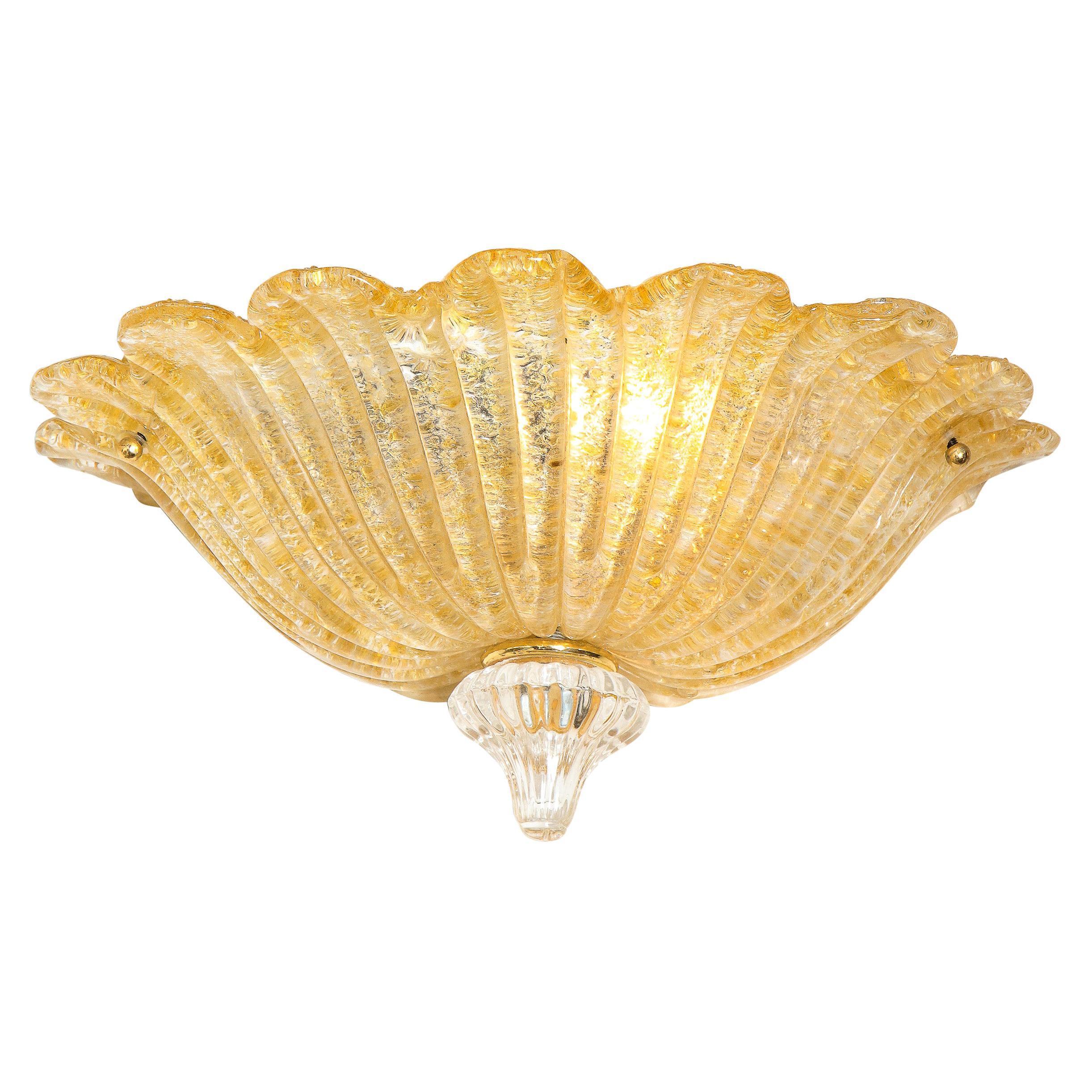 Modernist Handblown Murano Glass Sconce with 24kt Gold Flecks & Brass Fittings