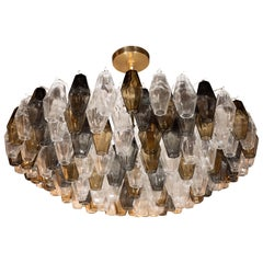 Modernist Handblown Murano Mixed Polyhedral Chandelier with Brass Fittings
