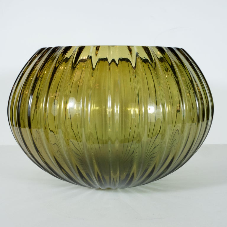 Italian Modernist Hand Blown Murano Ribbed Smoked Emerald Glass Decorative Bowl For Sale